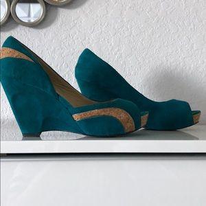 Free People's teal suede peep toe platform shoes